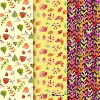 水彩秋パターンのセット