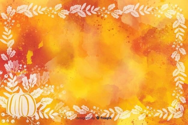 Осенние листья фон акварельный дизайн