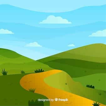 Плоский естественный фон с ландшафтом
