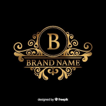 Золотой элегантный шаблон логотипа с орнаментом