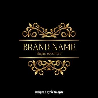 飾りと黄金のエレガントなロゴのテンプレート