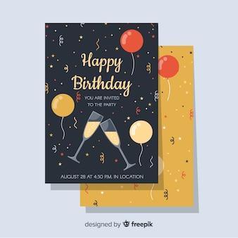 フラットスタイルのお誕生日おめでとう招待状のテンプレート