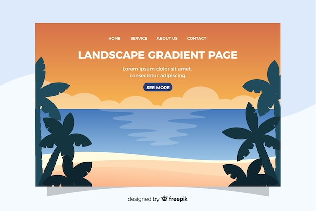 風景とようこそランディングページテンプレート