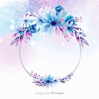 水彩花柄幾何学的フレームの背景