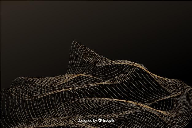 抽象的な黄金粒子ネットの背景