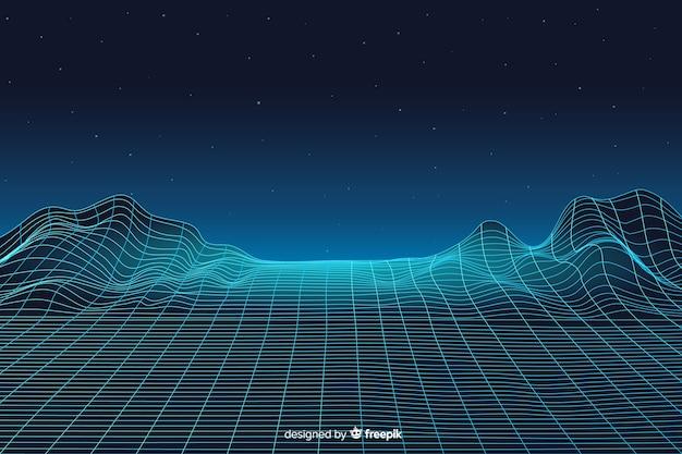 Абстрактный цифровой пейзаж с фоном частиц