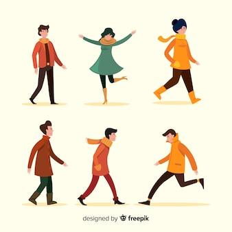 秋のフラットなデザインで歩く人
