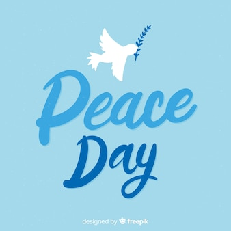 Надпись мирный день фон с голубем