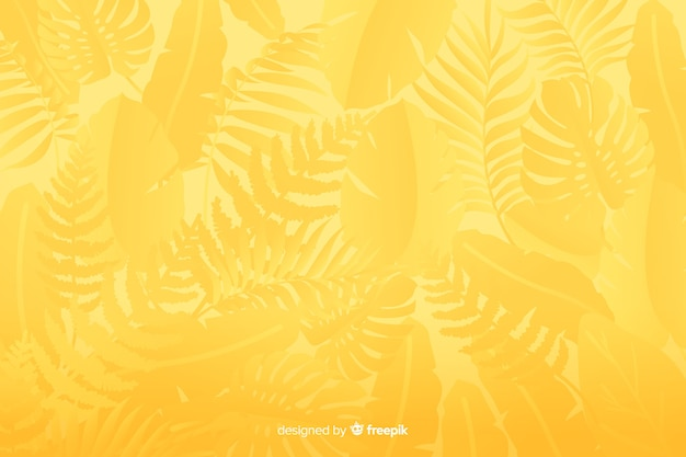 葉と単色の黄色の背景