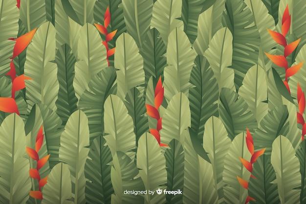 葉を持つシンプルな緑の背景