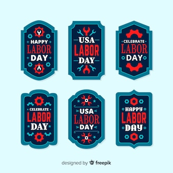 フラットスタイルのアメリカ労働日ラベル