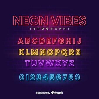 Декоративный шаблон алфавита неоновый стиль