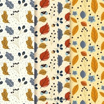 Плоская осенняя коллекция с листьями