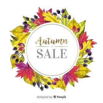 秋の販売背景水彩風