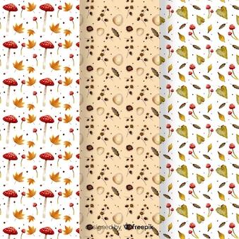 秋パターン水彩風のセット