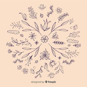 手描きの花飾りの要素