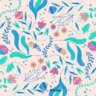 Цветущий рисованный цветочный фон