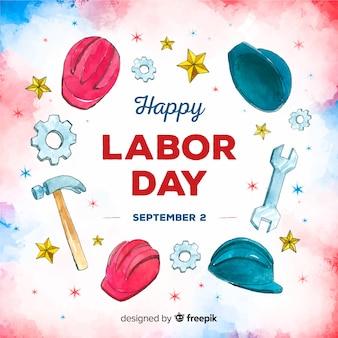 アメリカ労働日の水彩画の背景