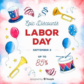 アメリカ労働日販売の水彩画の背景