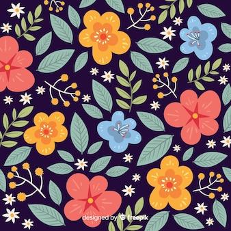 色とりどりの花装飾背景フラットスタイル