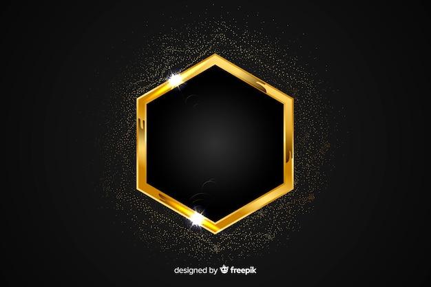 黒の背景に金色の輝くフレーム
