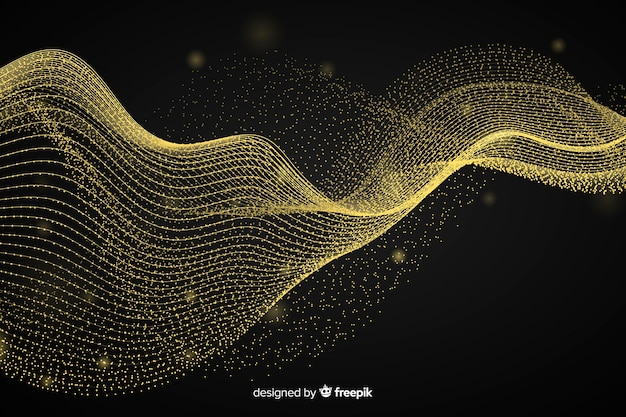 抽象的なゴールデンウェーブブラックの背景