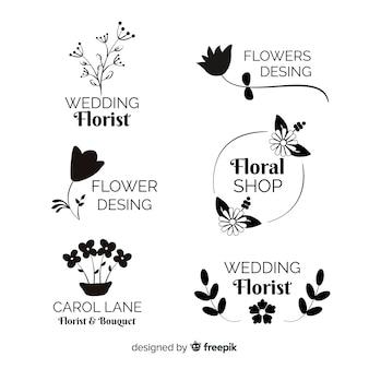 結婚式の花屋のロゴのテンプレートコレクション