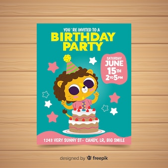 Плоский дизайн шаблона приглашения на день рождения