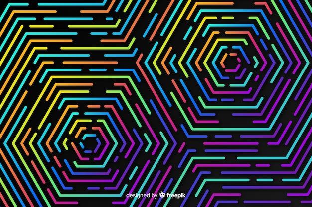 カラフルな幾何学的なネオン図形の背景