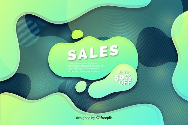 カラフルな販売背景の液体効果