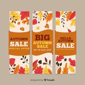 Шаблон баннеров плоская осень продажа