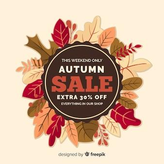フラットスタイルの秋の販売の背景