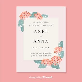 花スタイルの結婚式の招待状のテンプレート
