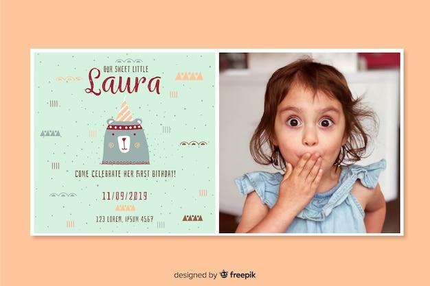 写真の誕生日の招待状のテンプレート