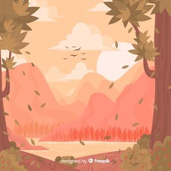 風景と平らな自然の背景