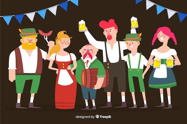 オクトーバーフェストを祝う人々フラットスタイル