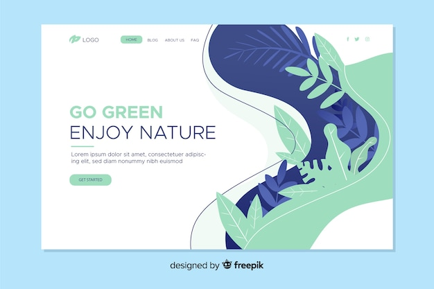 自然の着陸ページの葉