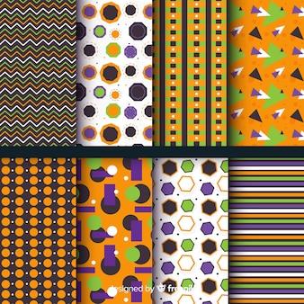 平らな幾何学的なハロウィーンパターンコレクション