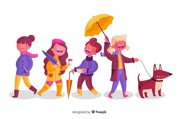 Разные люди гуляют осенью