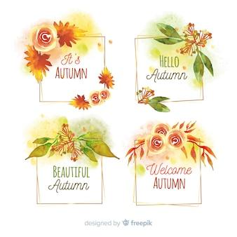 秋のバッジ水彩画デザインのコレクション