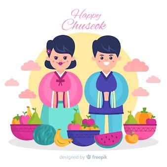 Фон счастливого корейского чусока