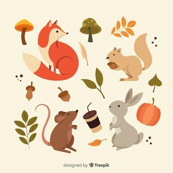 秋の森の動物フラットデザインのコレクション