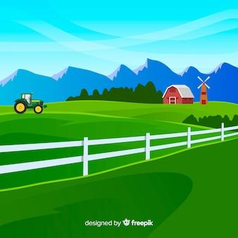 フラットスタイルの農場風景