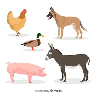Коллекция сельскохозяйственных животных в плоском стиле
