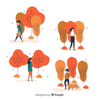 秋を歩くさまざまな人々