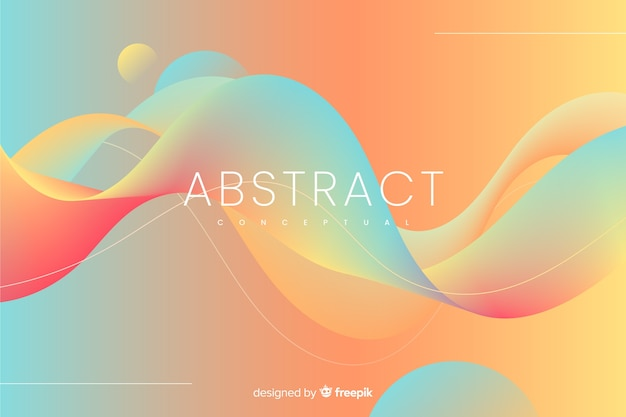 波状の形とカラフルな抽象的な背景