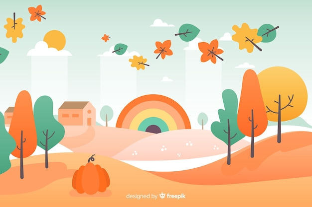フラットデザイン秋の背景の葉