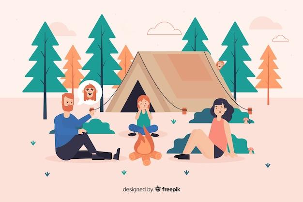 Иллюстрация людей, кемпинг на природе