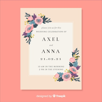 花のフレームを持つ結婚式の招待状のテンプレート
