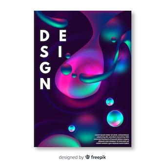 カラフルな液体効果のデザインカバーテンプレート